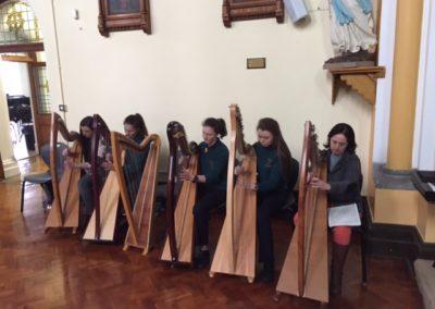 Harp Ensemble rehearse for RTE Mass 2016